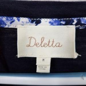 Anthropologie Tops - Deletta Navy Printed Back Short Sleeve Shirt Blous